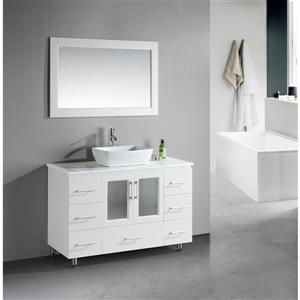 "Stanton Single Vanity with Matching Mirror - 48"" - White"