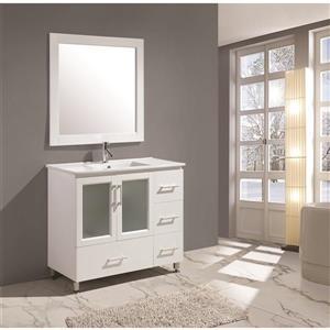 "Stanton Single Vanity with Matching Mirror - 40"" - White"