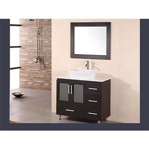 "Stanton Single Vanity with Matching Mirror - 36"" - Espresso"