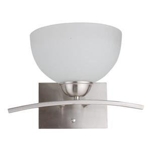 Whitfield Lighting Wall Sconce - 1 Light - 12-in x 8-in - Glass - Satin Steel Finish