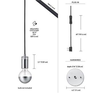 Globe Electric Glenmore Pendant - 1 Light - 180-in - Stainless steel
