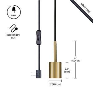 Globe Electric Leila Pendant - 1 Light - 180-in - Brass