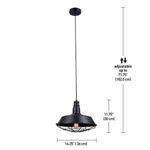 Globe Electric Damon Pendant - 1 Light - 73-in - Black
