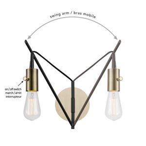 """Globe Electric Exeter Wall Sconce - 1 Light - 12"""" - Brown"""