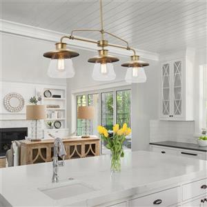 Globe Electric Nate Pendant - 3 Lights - 45.11-in - Brass