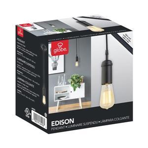Globe Electric Edison Pendant - 1 Light - 65-in - Black