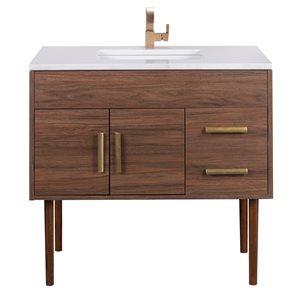 """Cutler Kitchen & Bath Garland Bathroom Vanity - 36"""" x 36"""" - Brass - Brown"""