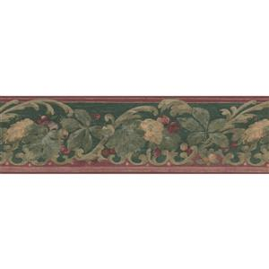 "Retro Art Wallpaper Border- 15' x 7"" - Cherry on Vine - Red/Green"