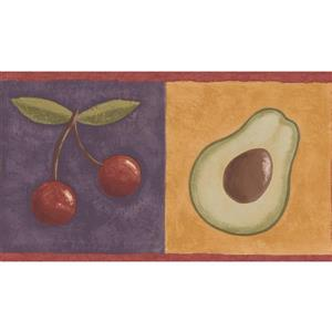 "Retro Art Wallpaper Border - 15' x 6"" - Lemon Cherry Avocado Grapes"