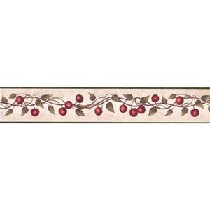 "Chesapeake Wallpaper Border - 15' x 4"" - Red Cherry on Vine - Coconut"