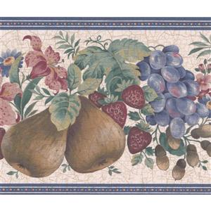 "Retro Art Wallpaper Border - 15' x 7"" - Fruit/Flowers - Multicolour"