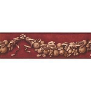 York Wallcoverings Wallpaper Border - 15-ft x 7-in - Fruits Vine - Beige/Garnet Red