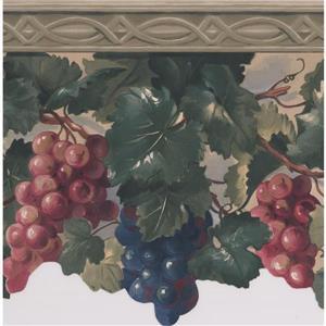 "Retro Art Wallpaper Border - 15' x 7.5"" - Grapes on Vine"