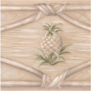 "Chesapeake Wallpaper Border - 15' x 4"" - Wicker Fence/Pinecone - Beige"