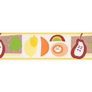 Norwall Wallpaper Border - 15' x 7-in- Kid-Drawn Fruits - Multicolour