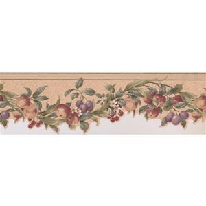 "Retro Art Wallpaper Border - 15' x 6.75"" - Fruits/Flowers -Multicolour"