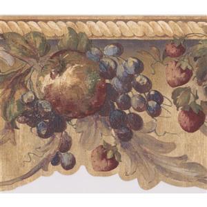 "Retro Art Wallpaper Border- 15' x 7.5"" - Damask Painted Fruits"