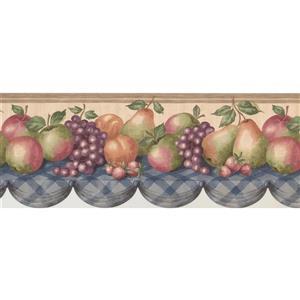 "Retro Art Wallpaper Border - 15' x 9"" - Rustic Table with Fruits"