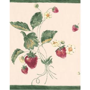 York Wallcoverings Wallpaper Border- 15-ft x 10.5-in - Wild Strawberries/Flowers