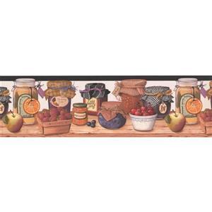 "Retro Art Wallpaper Border - 15' x 7"" - Jams and Jelly in Jars"