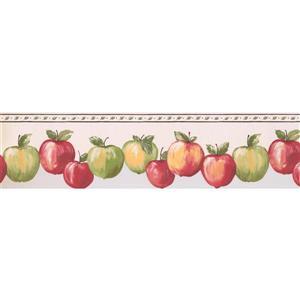 "Retro Art Wallpaper Border - 15' x 6"" - Apples - Cream White"
