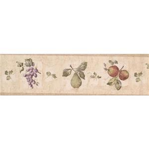 "Retro Art Wallpaper Border - 15' x 7"" - Grapes/Apples/Pears - Beige"