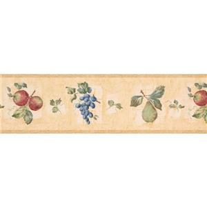 "Retro Art Wallpaper Border - 15' x 7"" - Grapes/Apples/Pears - Yellow"