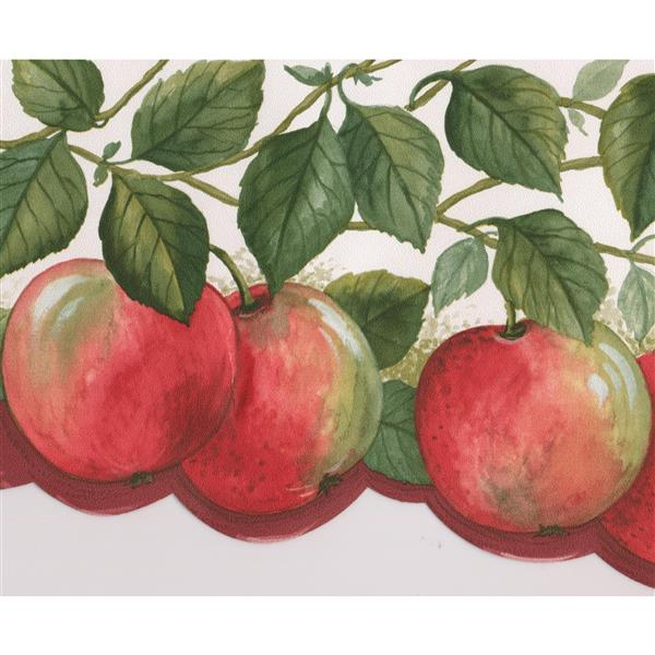 Norwall Wallpaper Border 15 X 6 75 In Apples On Vine Red Green