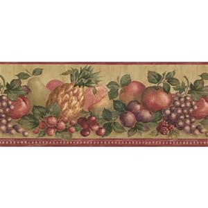 "Retro Art Wallpaper Border - 15' x 9.75"" - Vintage Fruits and Berries"