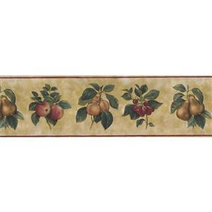 Norwall Wallpaper Border - 15' x 7-in- Fruits on Vine - Olive Green