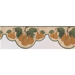 Norwall Wallpaper Border - 15' x 7.25-in- Retro Pears - Brown/Beige