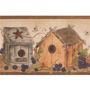 "Retro Art Wallpaper Border - 15' x 7"" - Birdhouses, Berries and Bees"