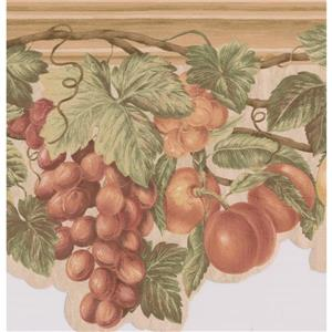 "Retro Art Wallpaper Border - 15' x 9"" - Vintage Fruits on Vine - Brown"