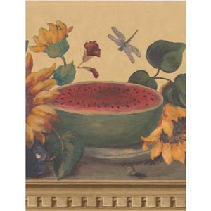 """Retro Art Wallpaper Border- 15' x 9.1"""" -Sunflowers/Butterflies - Beige"""