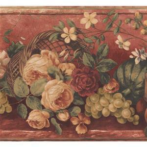 "Retro Art Wallpaper Border- 15' x 9"" -Retro Fruits and Bloomed Flowers"