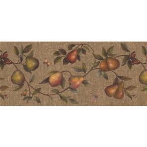 "Retro Art Wallpaper Border - 15' x 10.25"" - Pear/Dragonfly/Butterfly"