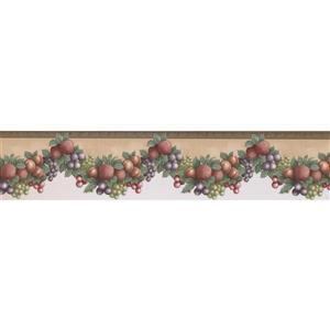 "Retro Art Wallpaper Border - 15' x 5"" - Fruit on Garland - Beige"