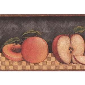 "Retro Art Wallpaper Border- 15' x 5.25"" -Sliced Fruits - Cracked Black"
