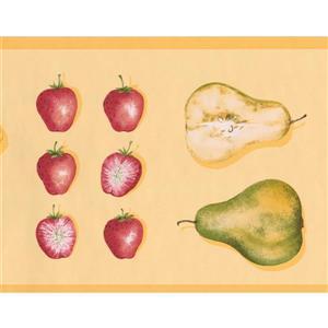 "Retro Art Wallpaper Border - 15' x 6.78"" - Retro Fruits - Yellow"