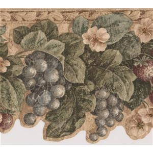 "Retro Art Wallpaper Border - 15' x 6.7"" - Vintage Fruits and Flowers"