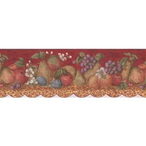 "Retro Art Wallpaper Border - 15' x 8"" - Faux Paint Fruits on Table"