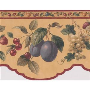 "Retro Art Wallpaper Border - 15' x 6.7"" - Retro Fruits - Yellow"