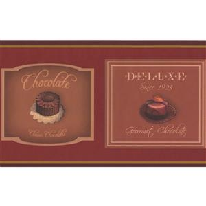 "Retro Art Wallpaper Border - 15' x 6.7"" - Pictures of Chocolate - Red"
