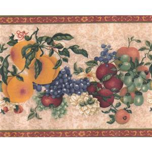 Norwall Wallpaper Border - 15' x 9-in- Retro Fruits - Beige