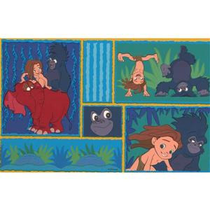 "Retro Art Wallpaper Border - 15' x 7"" - Tarzan with Animals"