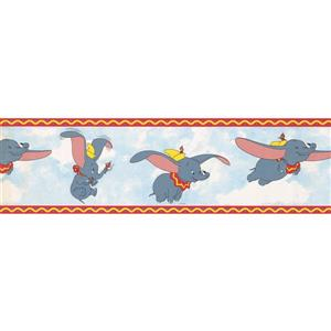 "Retro Art Wallpaper Border- 15' x 7"" -Dumbo the Elephant - Multicolour"