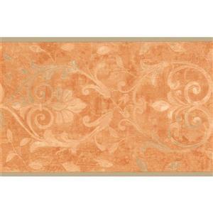 York Wallcoverings Wallpaper Border - 15-ft x 7.5-in -Damask - Coconut White/Orange