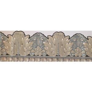 "Retro Art Wallpaper Border - 15' x 7"" - Leaves/Victorian - Gold/Grey"