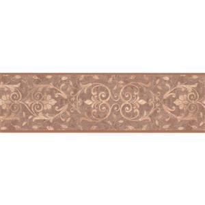 York Wallcoverings Wallpaper Border - 15-ft x 7-in - Damask - Coconut White/Rust