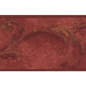 "Chesapeake Wallpaper Border - 15' x 6.5"" - Vintage Damask - Blood Red"